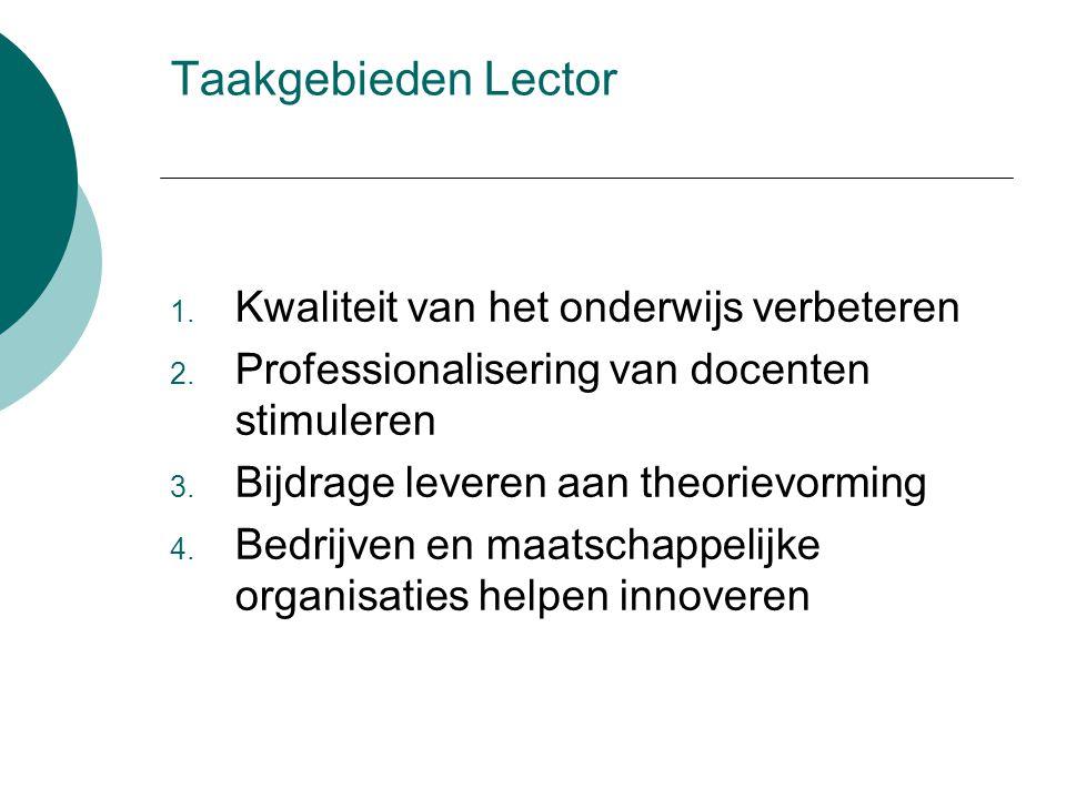 Taakgebieden Lector 1. Kwaliteit van het onderwijs verbeteren 2. Professionalisering van docenten stimuleren 3. Bijdrage leveren aan theorievorming 4.