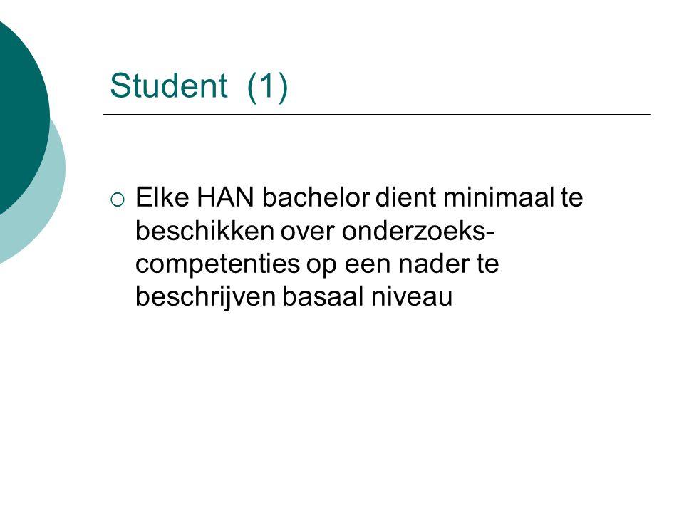 Student(1)  Elke HAN bachelor dient minimaal te beschikken over onderzoeks- competenties op een nader te beschrijven basaal niveau