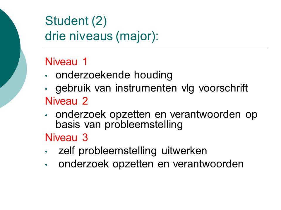 Student (2) drie niveaus (major): Niveau 1 onderzoekende houding gebruik van instrumenten vlg voorschrift Niveau 2 onderzoek opzetten en verantwoorden