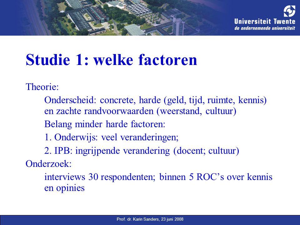 Prof. dr. Karin Sanders, 23 juni 2008 Studie 1: welke factoren Theorie: Onderscheid: concrete, harde (geld, tijd, ruimte, kennis) en zachte randvoorwa