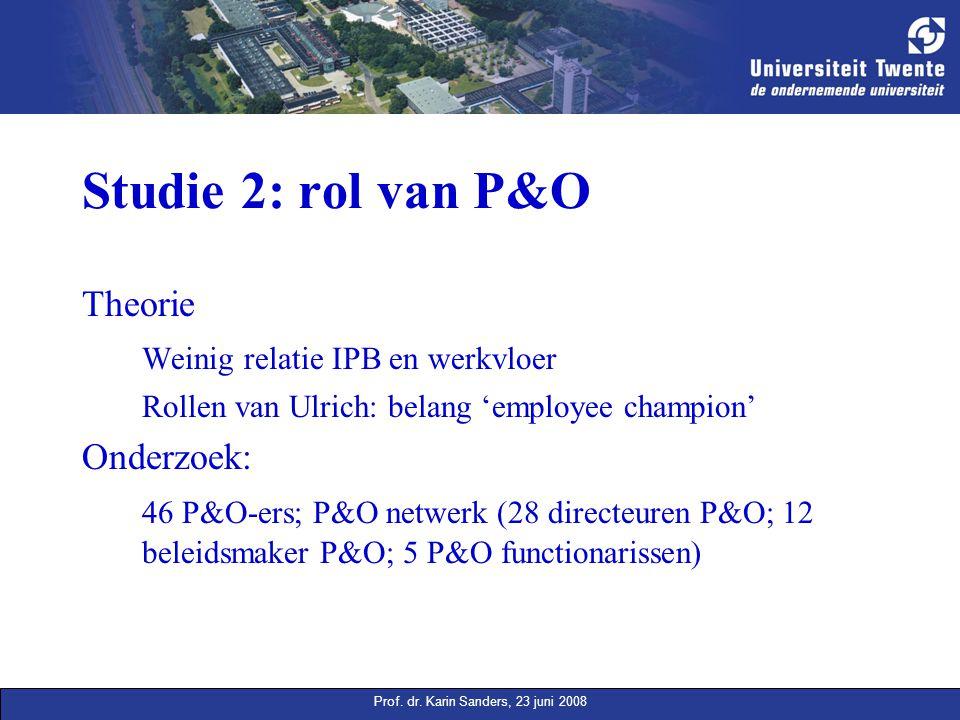 Prof. dr. Karin Sanders, 23 juni 2008 Studie 2: rol van P&O Theorie Weinig relatie IPB en werkvloer Rollen van Ulrich: belang 'employee champion' Onde