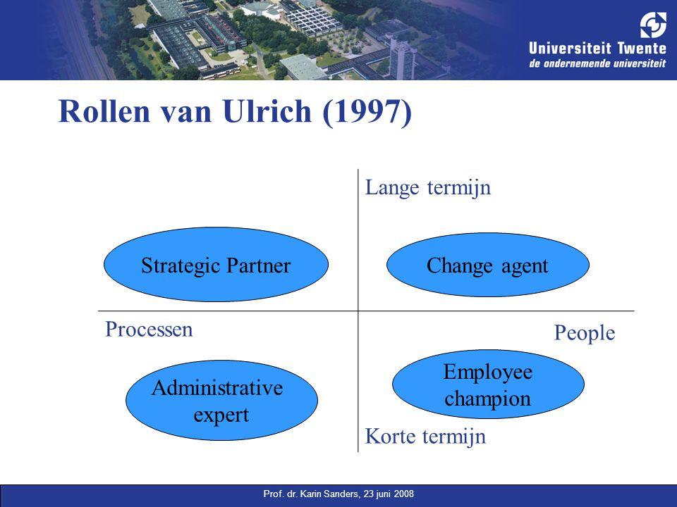 Prof. dr. Karin Sanders, 23 juni 2008 Rollen van Ulrich (1997) Strategic partner Lange termijn Change agent Processen People Korte termijn Strategic P