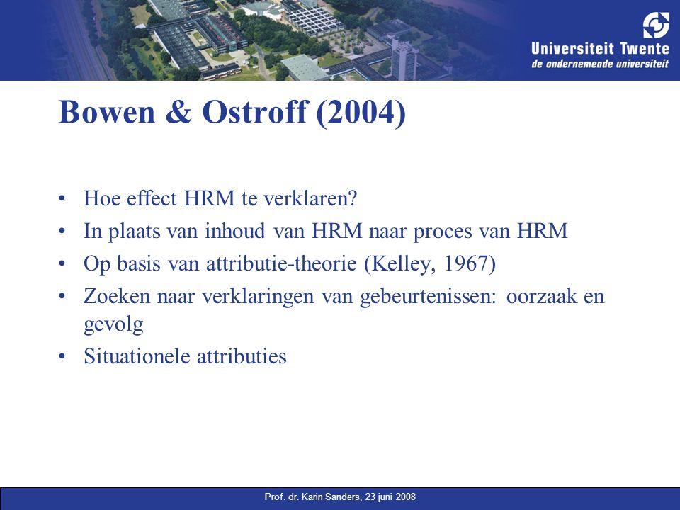 Prof. dr. Karin Sanders, 23 juni 2008 Bowen & Ostroff (2004) Hoe effect HRM te verklaren? In plaats van inhoud van HRM naar proces van HRM Op basis va