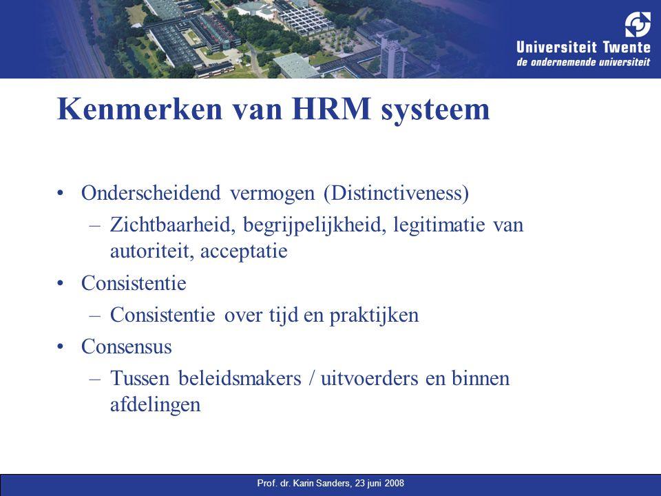 Prof. dr. Karin Sanders, 23 juni 2008 Kenmerken van HRM systeem Onderscheidend vermogen (Distinctiveness) –Zichtbaarheid, begrijpelijkheid, legitimati