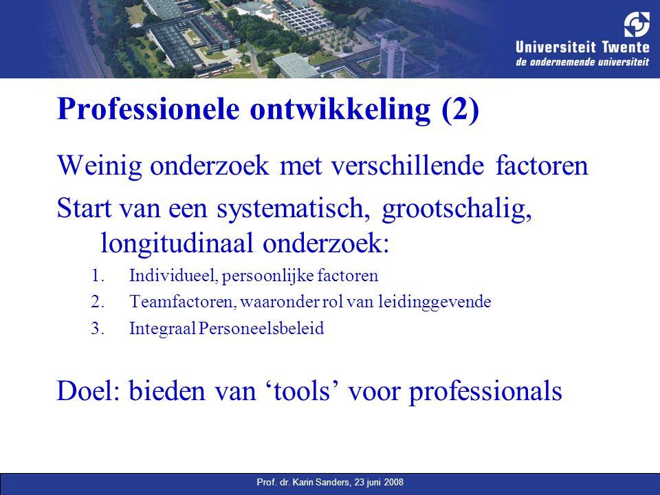 Prof. dr. Karin Sanders, 23 juni 2008 Professionele ontwikkeling (2) Weinig onderzoek met verschillende factoren Start van een systematisch, grootscha