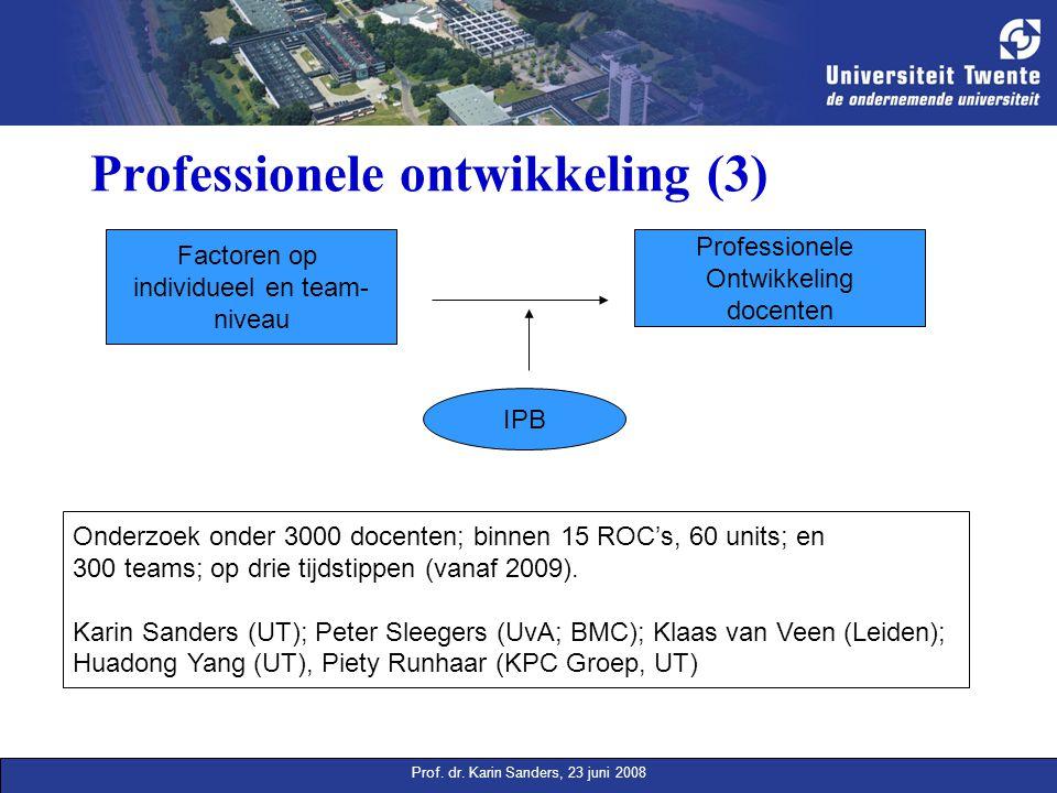 Prof. dr. Karin Sanders, 23 juni 2008 Professionele ontwikkeling (3) Factoren op individueel en team- niveau Professionele Ontwikkeling docenten IPB O