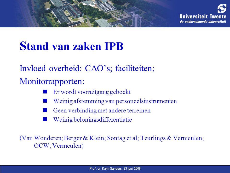 Prof. dr. Karin Sanders, 23 juni 2008 S tand van zaken IPB Invloed overheid: CAO's; faciliteiten; Monitorrapporten: Er wordt vooruitgang geboekt Weini