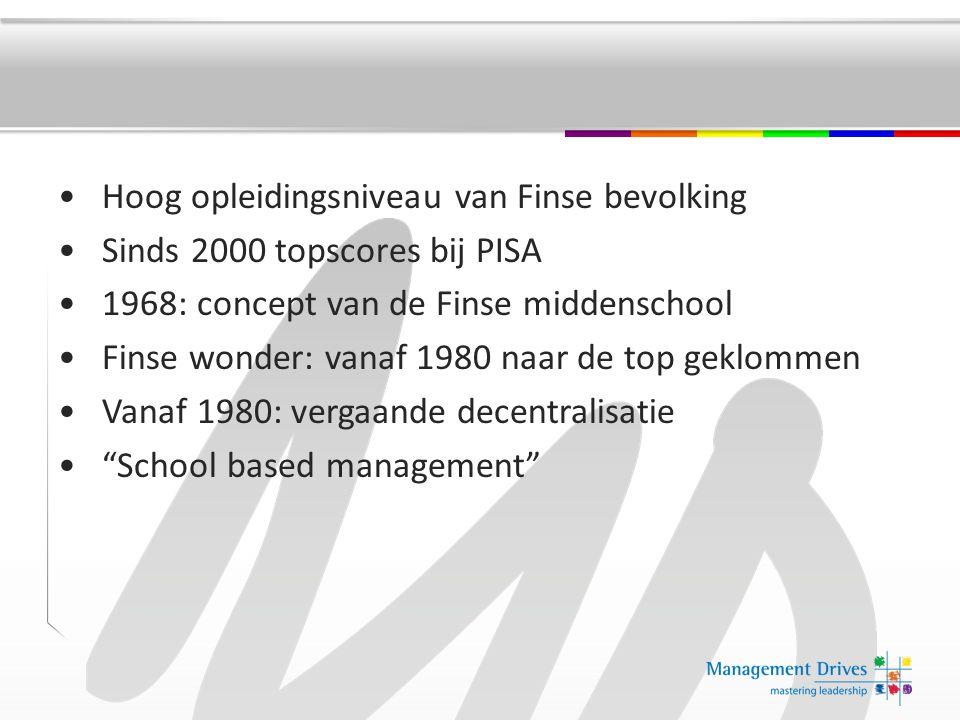 Hoog opleidingsniveau van Finse bevolking Sinds 2000 topscores bij PISA 1968: concept van de Finse middenschool Finse wonder: vanaf 1980 naar de top geklommen Vanaf 1980: vergaande decentralisatie School based management