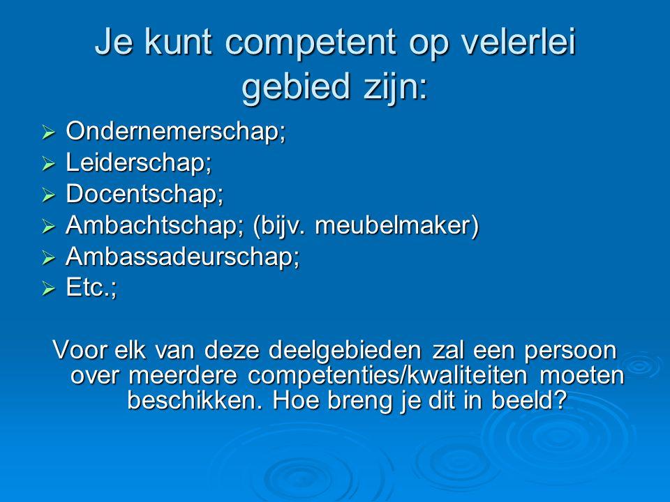 Je kunt competent op velerlei gebied zijn:  Ondernemerschap;  Leiderschap;  Docentschap;  Ambachtschap; (bijv. meubelmaker)  Ambassadeurschap; 