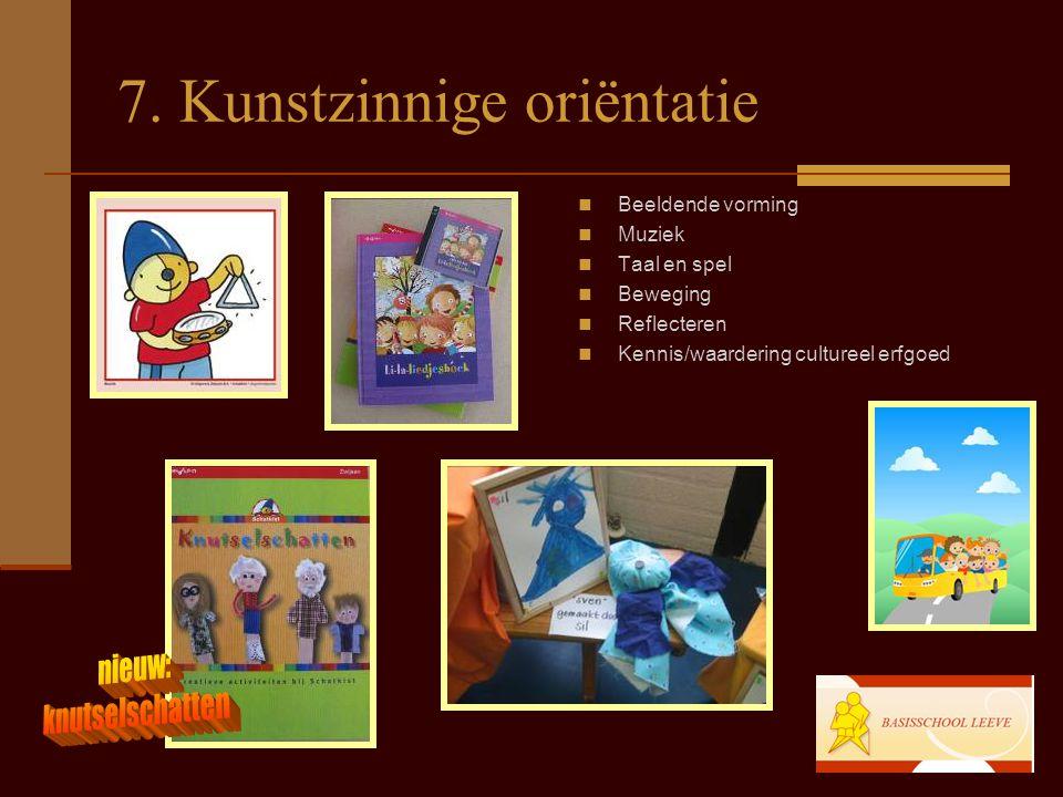 7. Kunstzinnige oriëntatie Beeldende vorming Muziek Taal en spel Beweging Reflecteren Kennis/waardering cultureel erfgoed