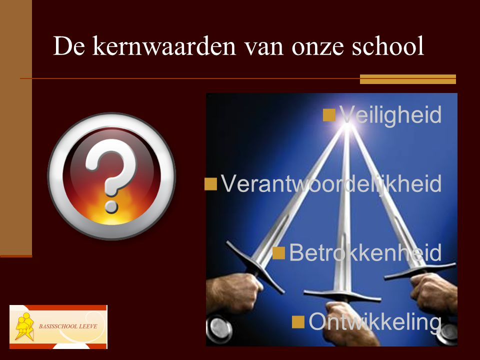 De kernwaarden van onze school Veiligheid Verantwoordelijkheid Betrokkenheid Ontwikkeling