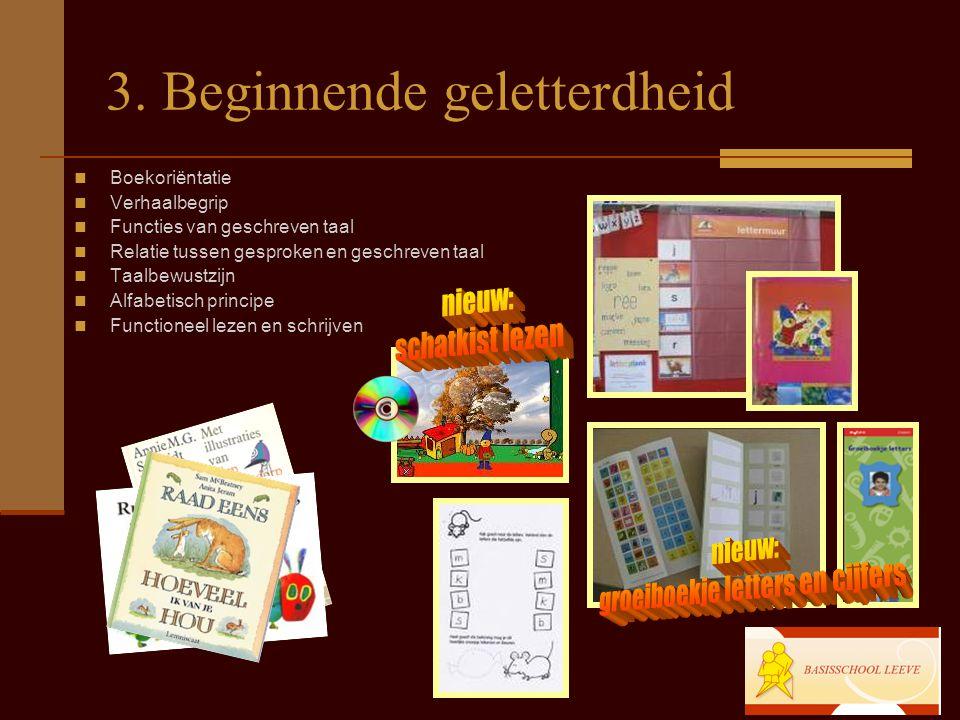 3. Beginnende geletterdheid Boekoriëntatie Verhaalbegrip Functies van geschreven taal Relatie tussen gesproken en geschreven taal Taalbewustzijn Alfab