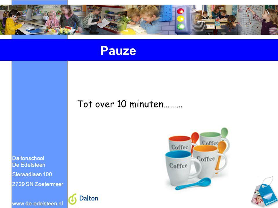 Daltonschool De Edelsteen Sieraadlaan 100 2729 SN Zoetermeer www.de-edelsteen.nl Pauze Tot over 10 minuten………