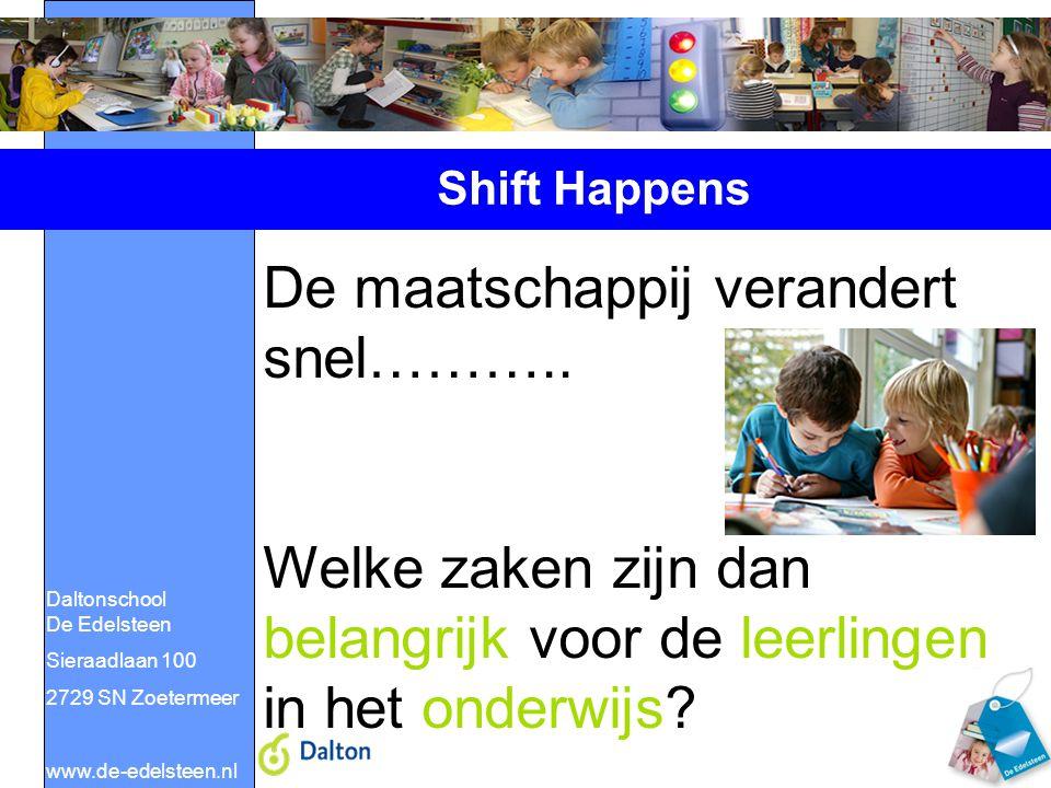 Daltonschool De Edelsteen Sieraadlaan 100 2729 SN Zoetermeer www.de-edelsteen.nl Shift Happens De maatschappij verandert snel……….. Welke zaken zijn da