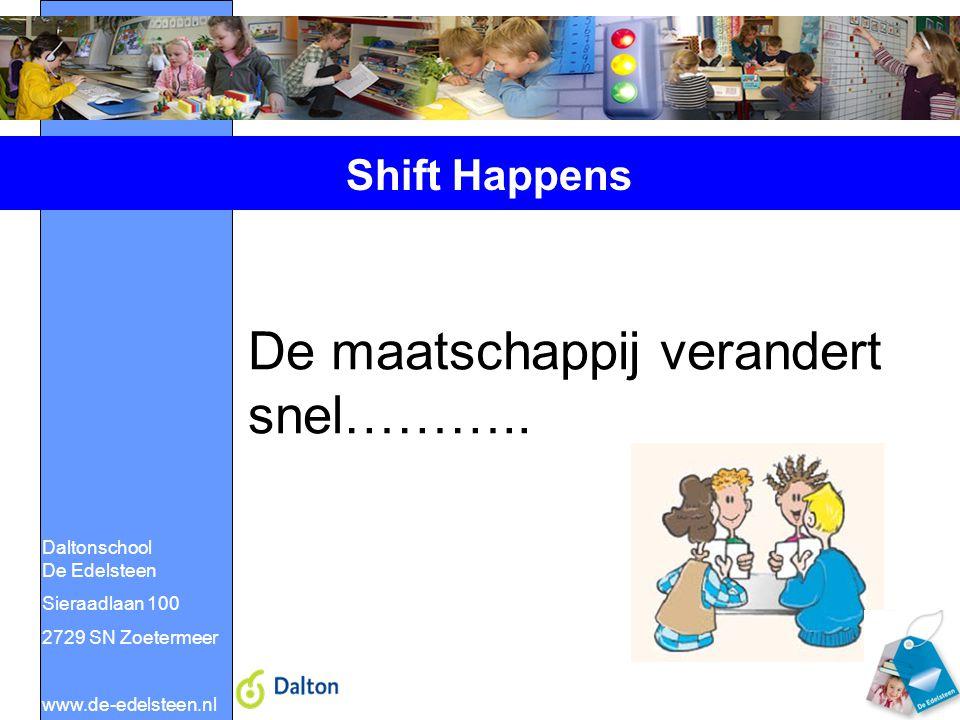 Daltonschool De Edelsteen Sieraadlaan 100 2729 SN Zoetermeer www.de-edelsteen.nl Shift Happens De maatschappij verandert snel………..