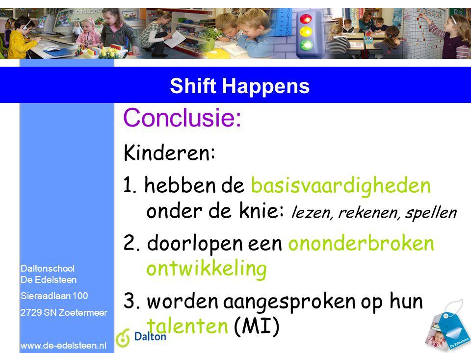 Daltonschool De Edelsteen Sieraadlaan 100 2729 SN Zoetermeer www.de-edelsteen.nl Shift Happens Conclusie: Kinderen: 1. hebben de basisvaardigheden ond
