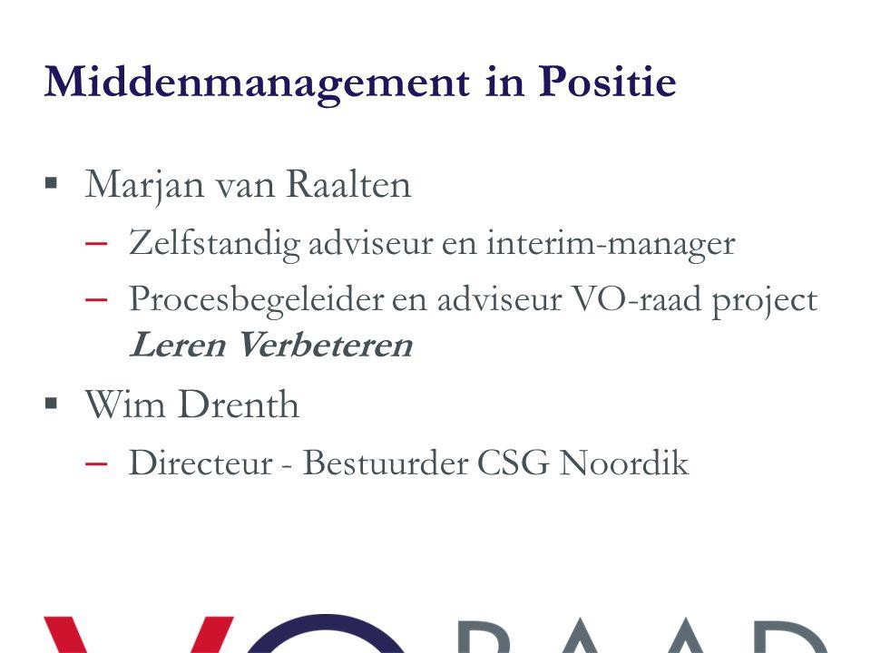 Middenmanagement in Positie  Marjan van Raalten – Zelfstandig adviseur en interim-manager – Procesbegeleider en adviseur VO-raad project Leren Verbet
