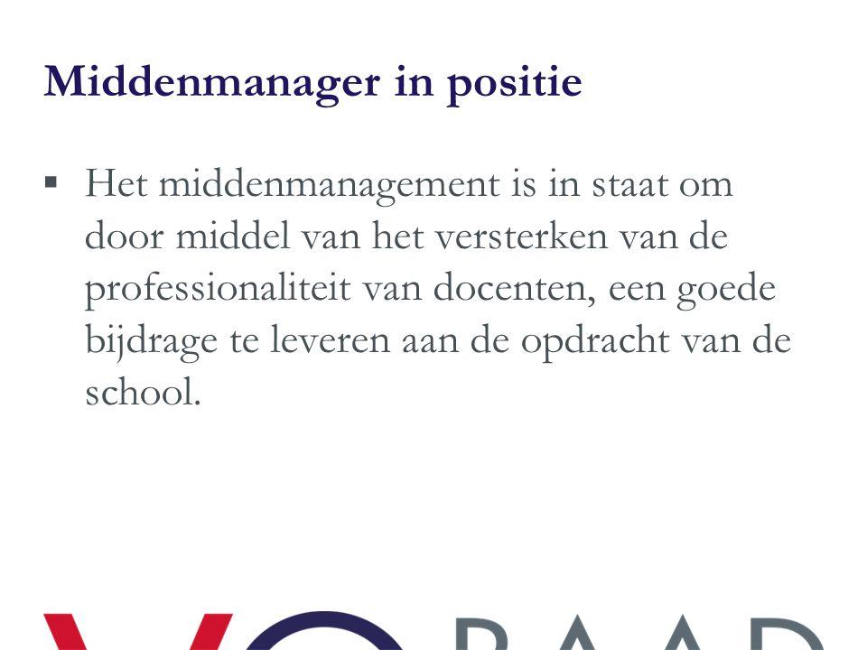 Middenmanager in positie  Het middenmanagement is in staat om door middel van het versterken van de professionaliteit van docenten, een goede bijdrag