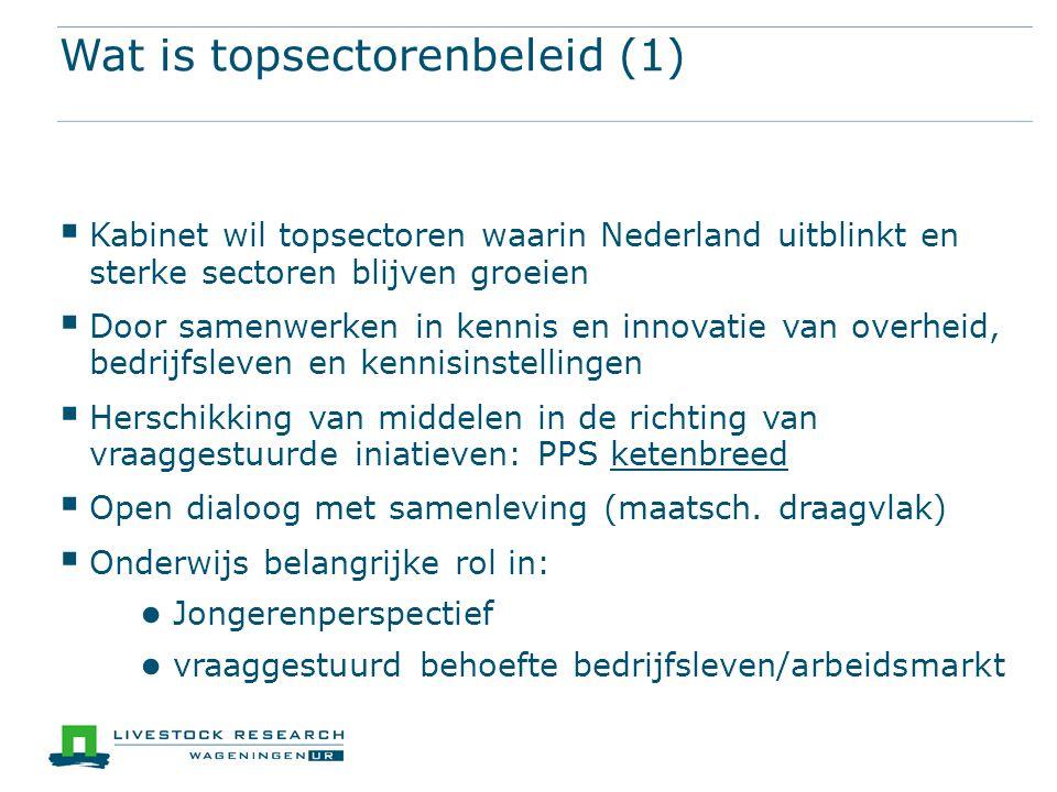 Wat is topsectorenbeleid (1)  Kabinet wil topsectoren waarin Nederland uitblinkt en sterke sectoren blijven groeien  Door samenwerken in kennis en innovatie van overheid, bedrijfsleven en kennisinstellingen  Herschikking van middelen in de richting van vraaggestuurde iniatieven: PPS ketenbreed  Open dialoog met samenleving (maatsch.
