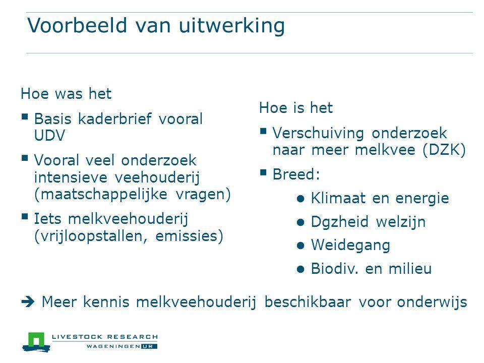 Voorbeeld van uitwerking Hoe was het  Basis kaderbrief vooral UDV  Vooral veel onderzoek intensieve veehouderij (maatschappelijke vragen)  Iets mel