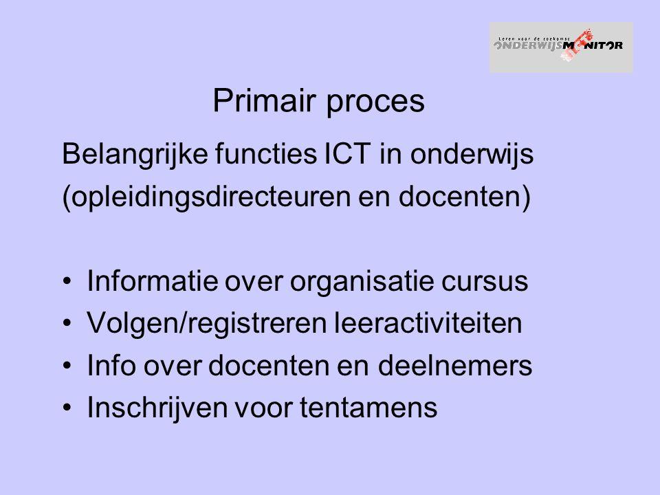 Primair proces Belangrijke functies ICT in onderwijs (opleidingsdirecteuren en docenten) Informatie over organisatie cursus Volgen/registreren leeractiviteiten Info over docenten en deelnemers Inschrijven voor tentamens