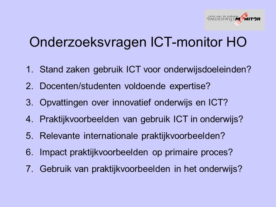 Opzet ICT-monitor HO Vier themastudies –Praktijkvoorbeelden hoger onderwijs –Handreikingen vanuit internationale praktijkvoorbeelden –Gebruik maken van best practises –Stand van zaken ICT in het hoger onderwijs Survey –Internetenquête en telefonische enquête