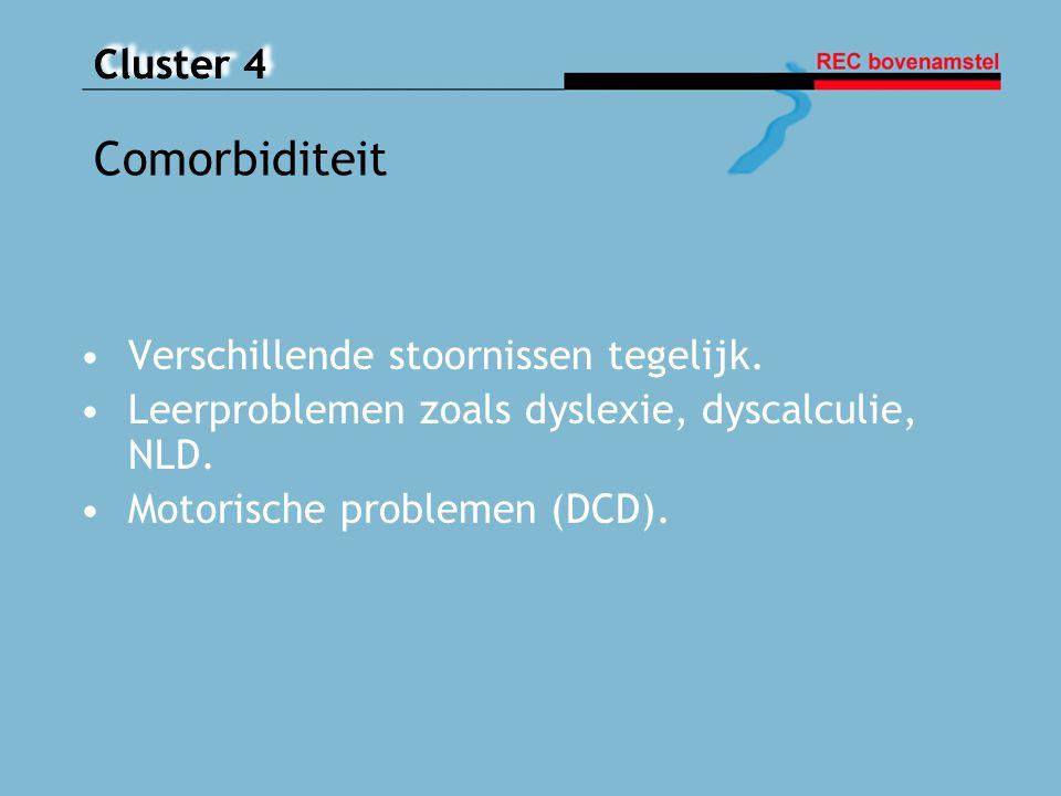 Cluster 4 Verschillende stoornissen tegelijk. Leerproblemen zoals dyslexie, dyscalculie, NLD. Motorische problemen (DCD). Comorbiditeit