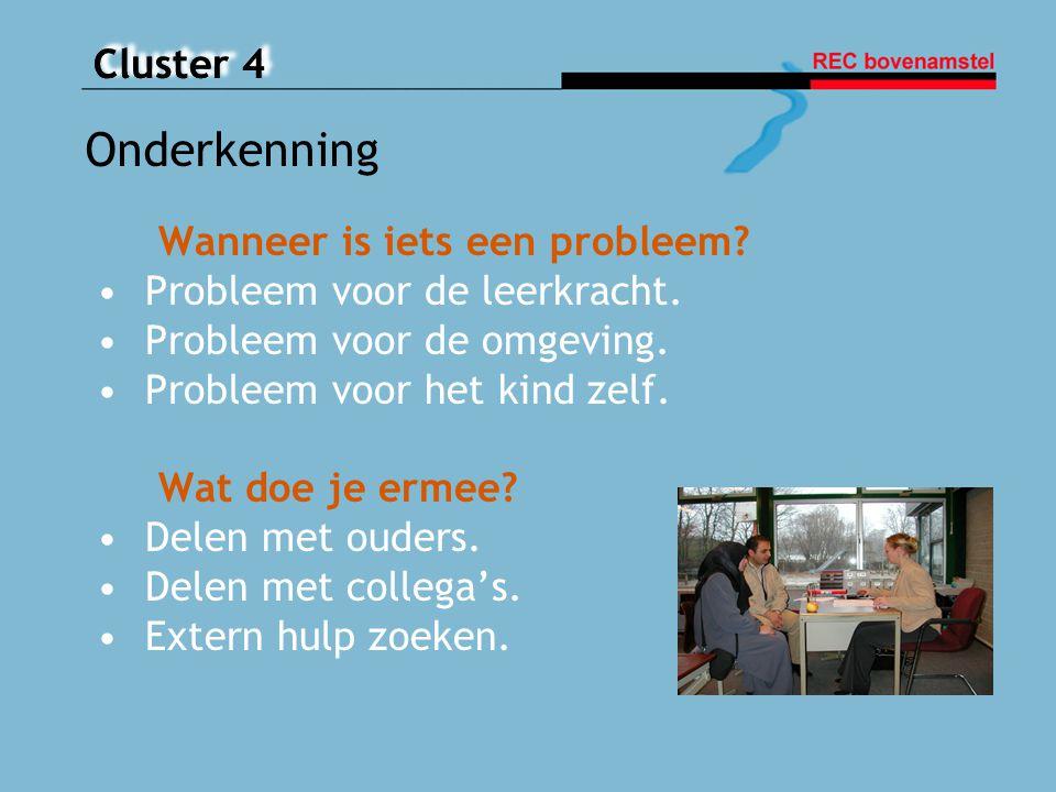 Cluster 4 Wanneer is iets een probleem? Probleem voor de leerkracht. Probleem voor de omgeving. Probleem voor het kind zelf. Wat doe je ermee? Delen m