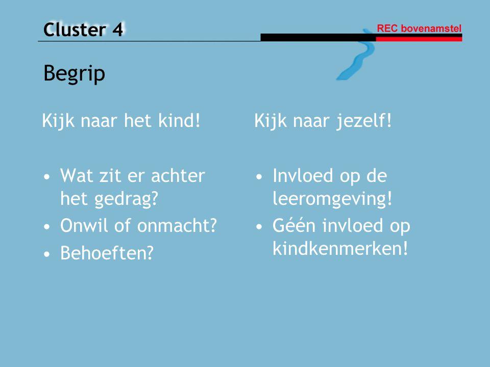 Cluster 4 Begrip Kijk naar het kind! Wat zit er achter het gedrag? Onwil of onmacht? Behoeften? Kijk naar jezelf! Invloed op de leeromgeving! Géén inv