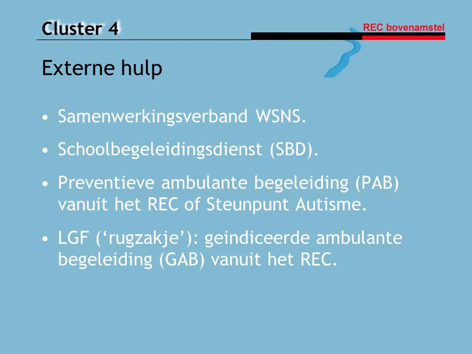 Cluster 4 Externe hulp Samenwerkingsverband WSNS. Schoolbegeleidingsdienst (SBD). Preventieve ambulante begeleiding (PAB) vanuit het REC of Steunpunt