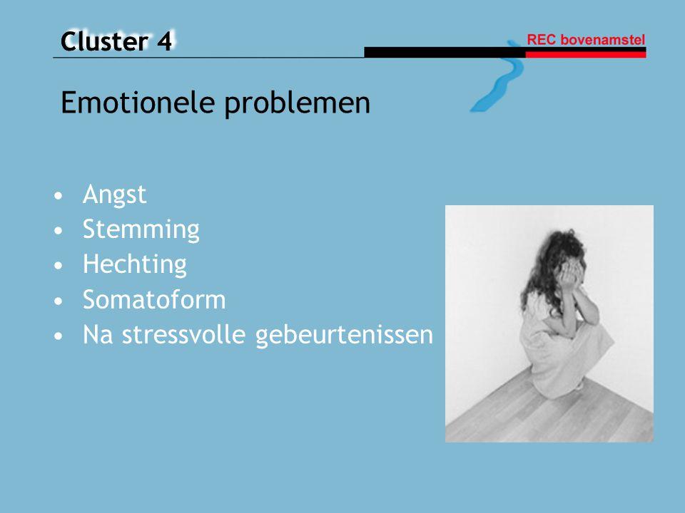 Cluster 4 Aandachtstekortstoornis met hyperactiviteit ( ADHD) Oppositioneel, opstandig gedrag (ODD) Agressief, antisociaal gedrag (CD) Posttraumatische stressstoornis ( PTSS) Dwangstoornis ( OCD) Gedragsstoornissen