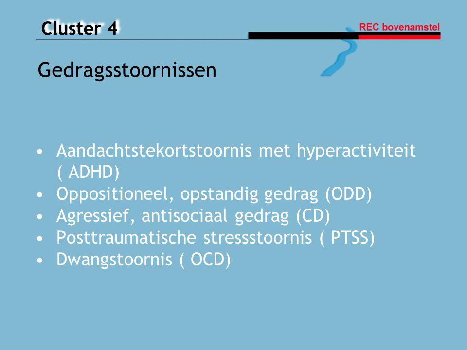 Cluster 4 Aandachtstekortstoornis met hyperactiviteit ( ADHD) Oppositioneel, opstandig gedrag (ODD) Agressief, antisociaal gedrag (CD) Posttraumatisch
