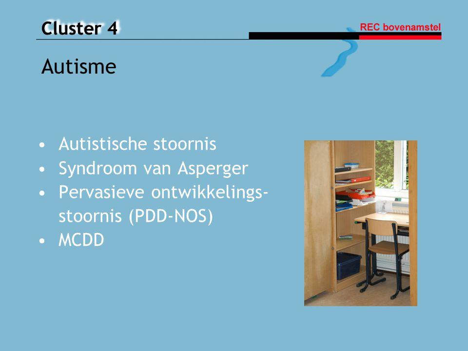 Cluster 4 Autistische stoornis Syndroom van Asperger Pervasieve ontwikkelings- stoornis (PDD-NOS) MCDD Autisme