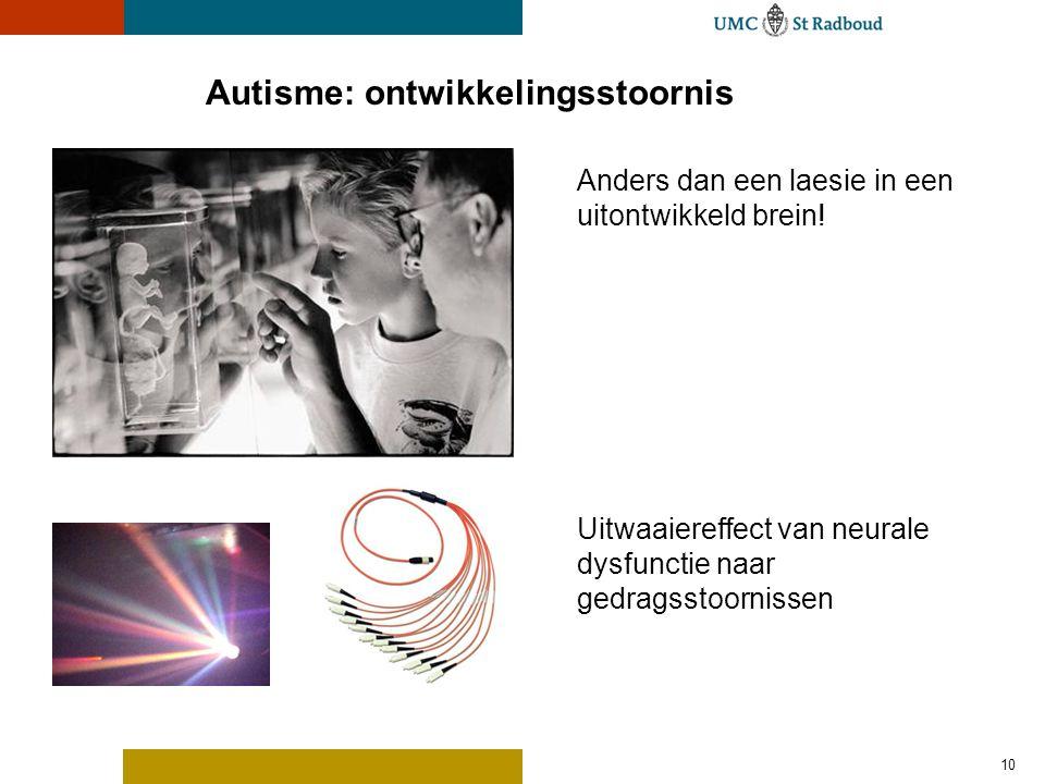 10 Autisme: ontwikkelingsstoornis Anders dan een laesie in een uitontwikkeld brein! Uitwaaiereffect van neurale dysfunctie naar gedragsstoornissen