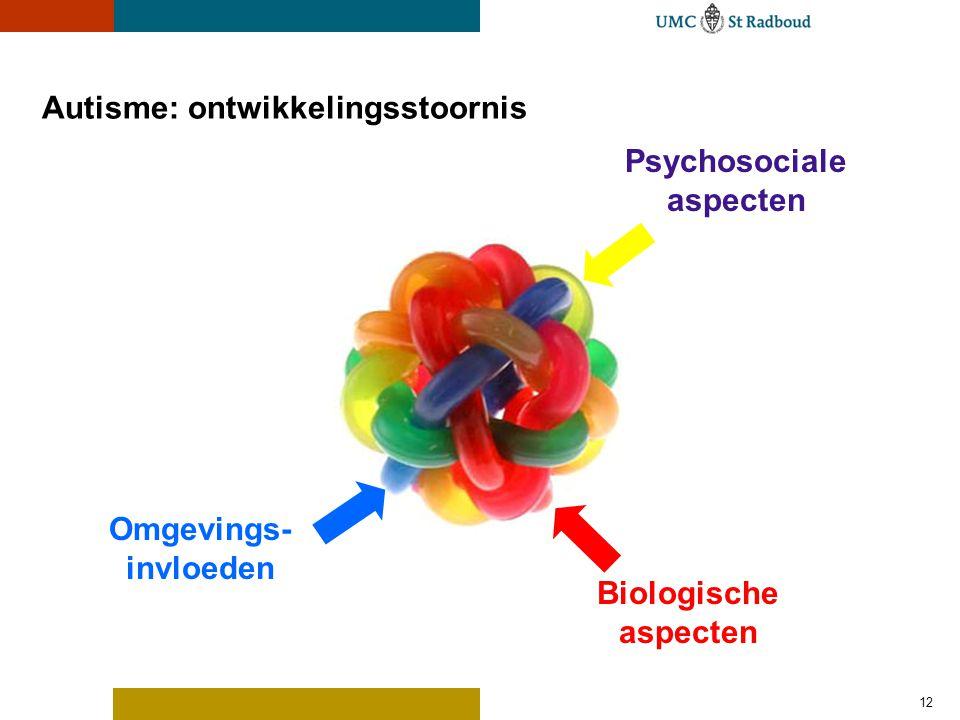 12 Autisme: ontwikkelingsstoornis Omgevings- invloeden Biologische aspecten Psychosociale aspecten