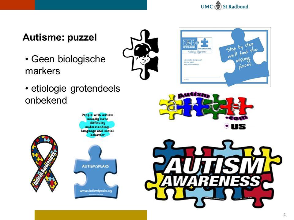4 Geen biologische markers etiologie grotendeels onbekend Autisme: puzzel