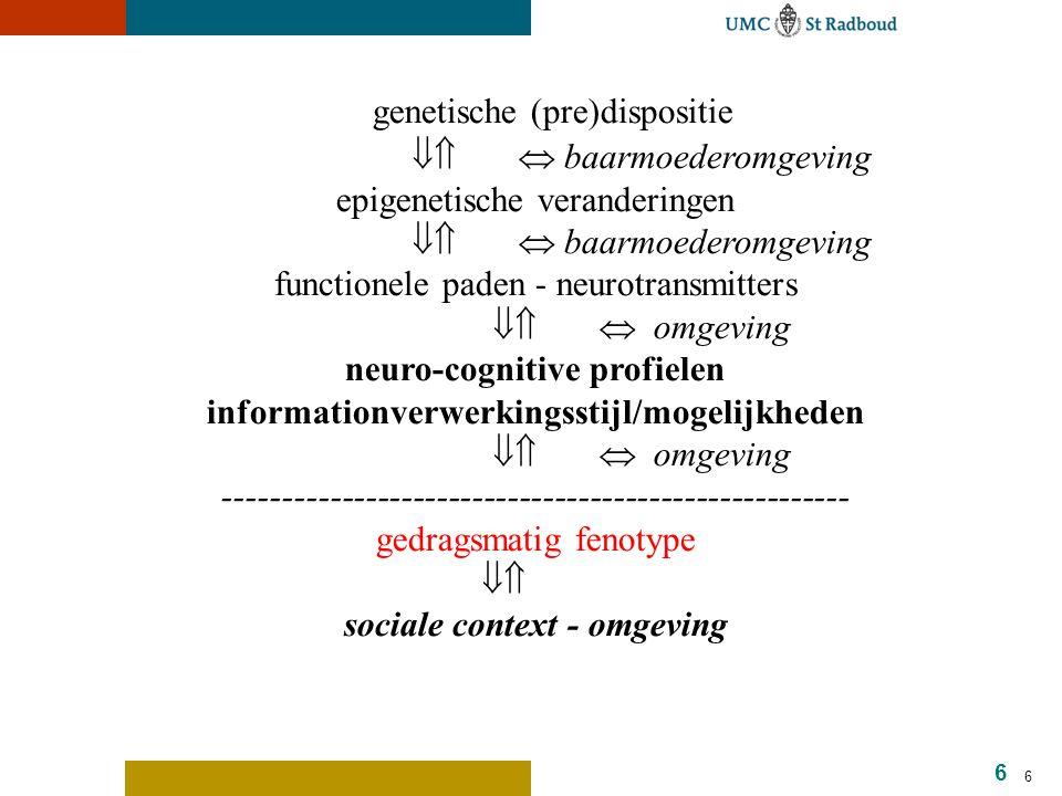 17 Neurochemische afwijking: serotonine Neurotransmitter Functies: controle over eetlust, slaap, geheugen, leren, temperatuur regulatie, stemming, gedrag, hart en bloedvaten, spierspanning, en klierregulatie.