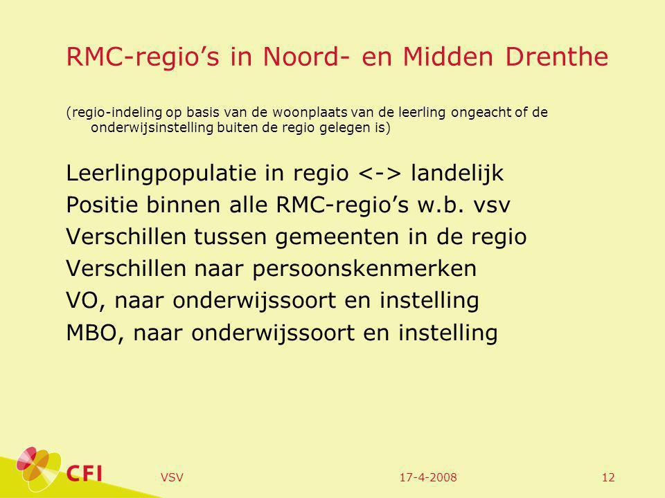 17-4-2008VSV12 RMC-regio's in Noord- en Midden Drenthe (regio-indeling op basis van de woonplaats van de leerling ongeacht of de onderwijsinstelling buiten de regio gelegen is) Leerlingpopulatie in regio landelijk Positie binnen alle RMC-regio's w.b.
