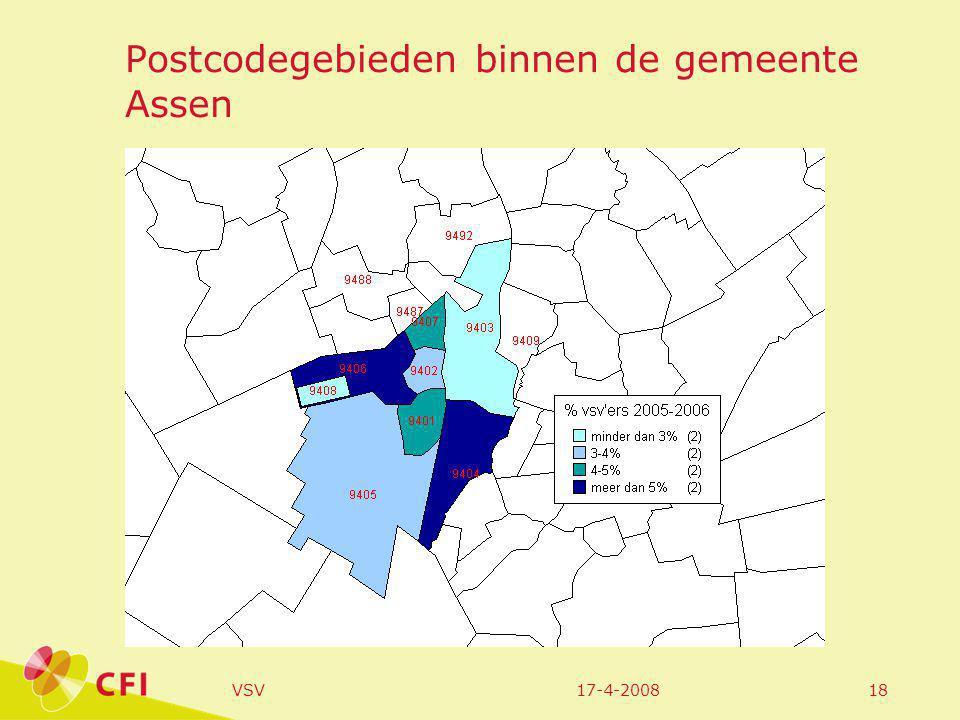 17-4-2008VSV18 Postcodegebieden binnen de gemeente Assen