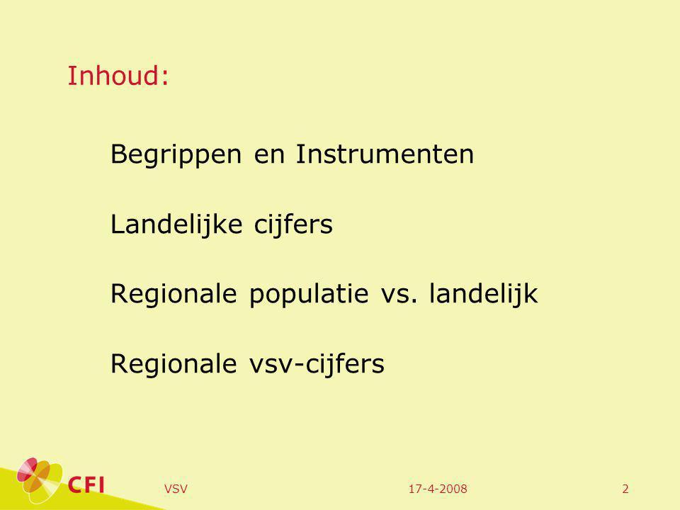 17-4-2008VSV2 Inhoud: Begrippen en Instrumenten Landelijke cijfers Regionale populatie vs.