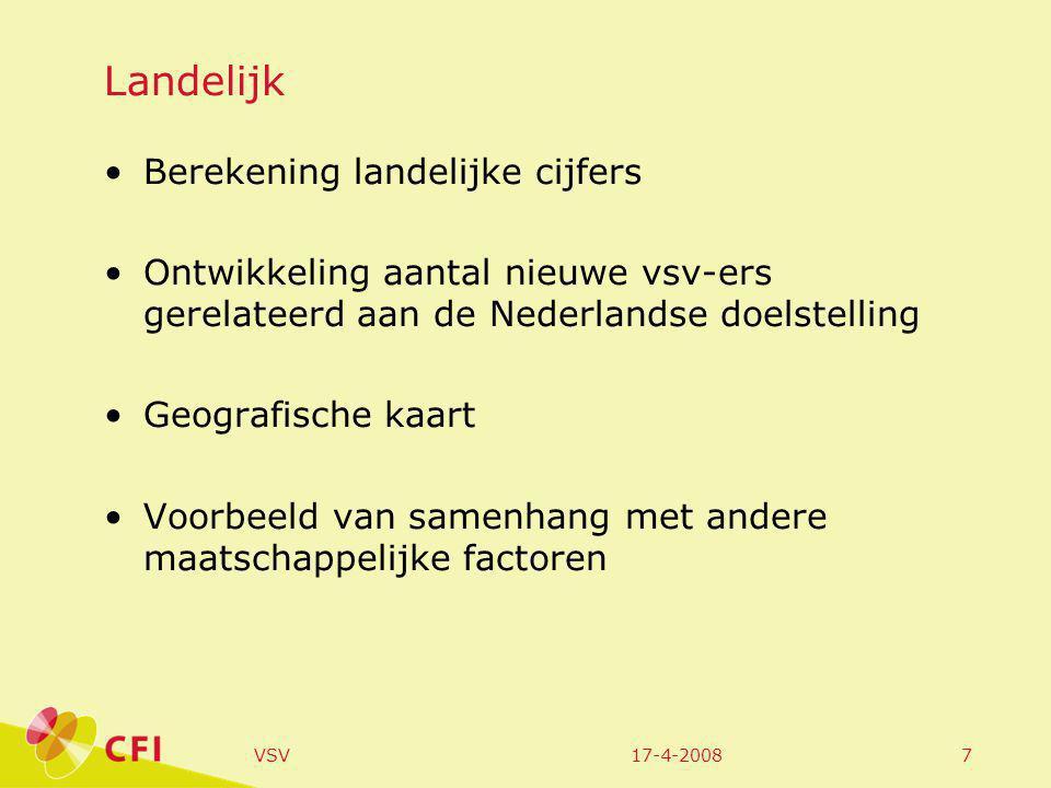 17-4-2008VSV7 Landelijk Berekening landelijke cijfers Ontwikkeling aantal nieuwe vsv-ers gerelateerd aan de Nederlandse doelstelling Geografische kaart Voorbeeld van samenhang met andere maatschappelijke factoren