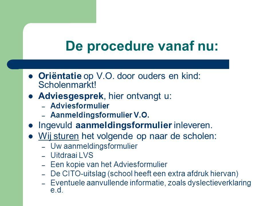 De procedure vanaf nu: Oriëntatie op V.O.door ouders en kind: Scholenmarkt.