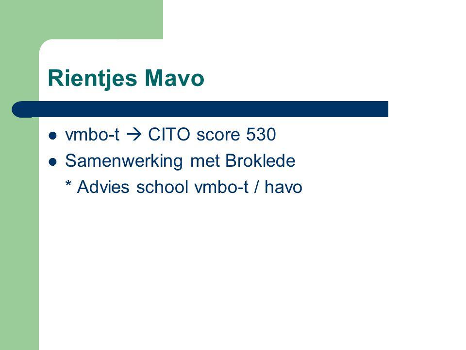 Rientjes Mavo vmbo-t  CITO score 530 Samenwerking met Broklede * Advies school vmbo-t / havo