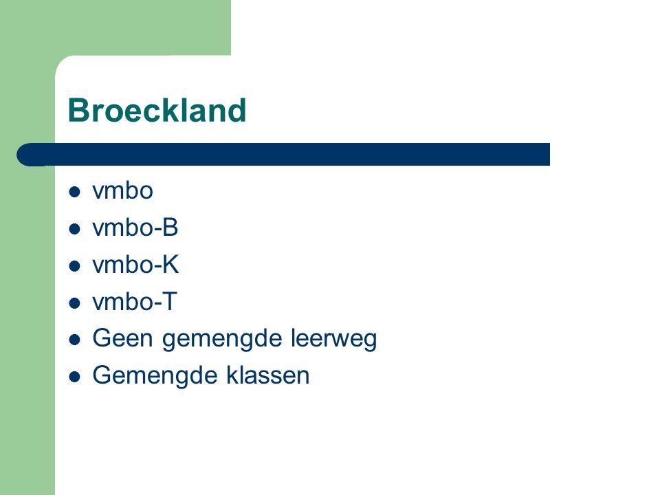 Broeckland vmbo vmbo-B vmbo-K vmbo-T Geen gemengde leerweg Gemengde klassen