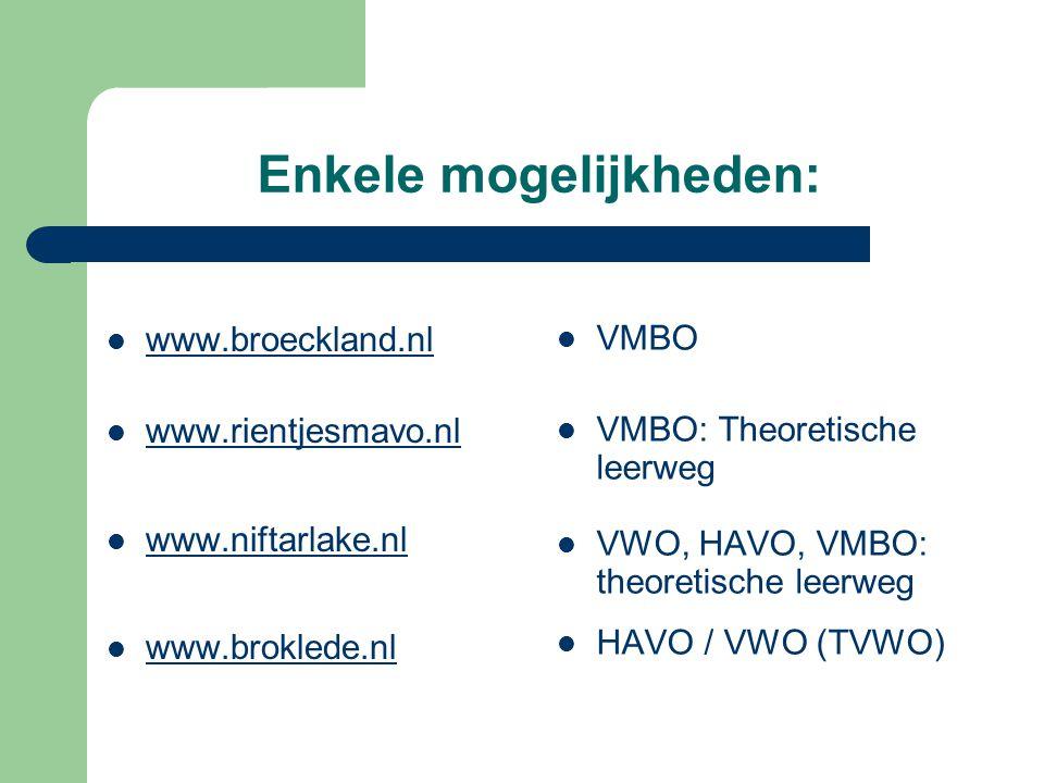 Enkele mogelijkheden: www.broeckland.nl www.rientjesmavo.nl www.niftarlake.nl www.broklede.nl VMBO VMBO: Theoretische leerweg VWO, HAVO, VMBO: theoretische leerweg HAVO / VWO (TVWO)