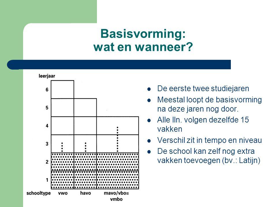 Basisvorming: wat en wanneer? De eerste twee studiejaren Meestal loopt de basisvorming na deze jaren nog door. Alle lln. volgen dezelfde 15 vakken Ver