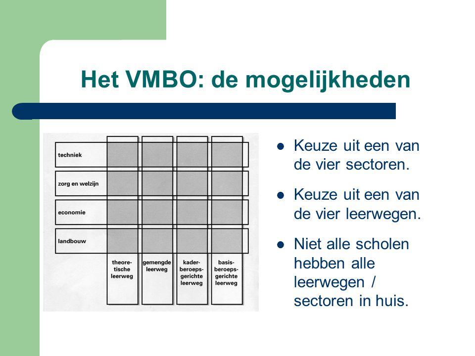 Het VMBO: de mogelijkheden Keuze uit een van de vier sectoren. Keuze uit een van de vier leerwegen. Niet alle scholen hebben alle leerwegen / sectoren