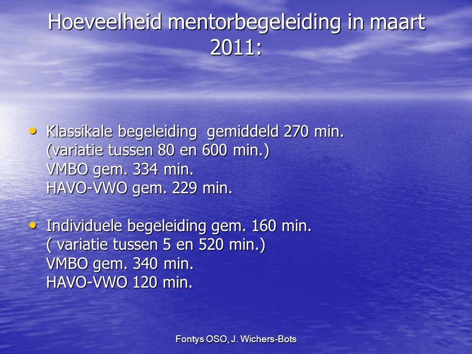 Fontys OSO, J. Wichers-Bots Hoeveelheid mentorbegeleiding in maart 2011: Klassikale begeleiding gemiddeld 270 min. Klassikale begeleiding gemiddeld 27