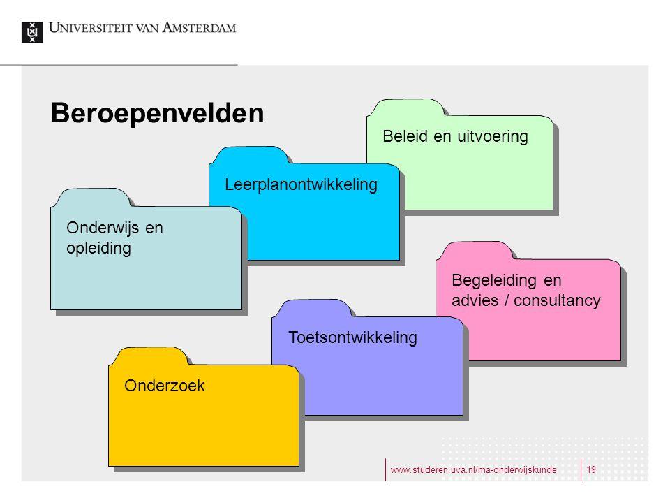 www.studeren.uva.nl/ma-onderwijskunde19 Beroepenvelden Beleid en uitvoering Begeleiding en advies / consultancy Leerplanontwikkeling Toetsontwikkeling Onderwijs en opleiding Onderzoek