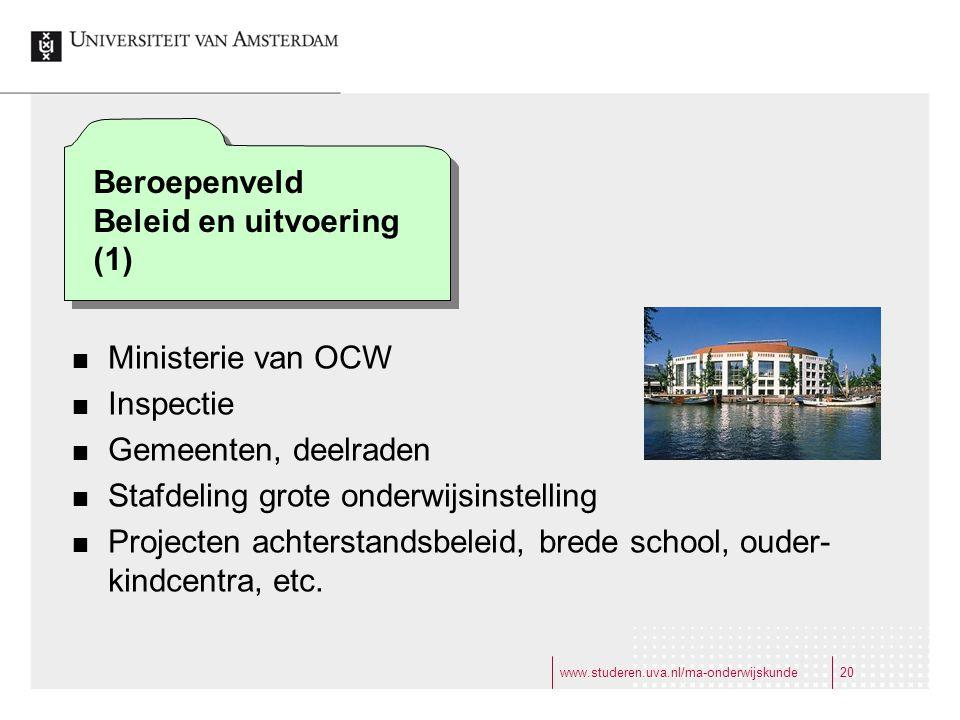 www.studeren.uva.nl/ma-onderwijskunde20 Ministerie van OCW Inspectie Gemeenten, deelraden Stafdeling grote onderwijsinstelling Projecten achterstandsbeleid, brede school, ouder- kindcentra, etc.